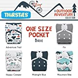 Thirsties Package, One Size Pocket Diaper Hook & Loop, Outdoor Adventure Collection Birdie