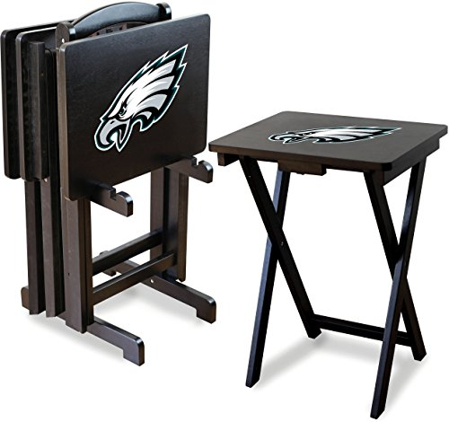 Imperial Officially Licensed NFL Merchandise: Foldable Wood TV Tray Table Set with Stand, Philadelphia Eagles