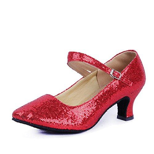 Des Mädchens Der Frauen Professional Latin Schuhe Obermaterial Satin Sandalen Salsa / Ballroom Dance Schuh Med (weitere Farben) Red