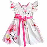 Kseniya Kids Big Little Girls' Petal Print Dresses Flower Ribbons Girl Princess Dress (7-9y)