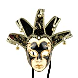 YUFENG Vintage Jolly Joker Venetian Masquerade Mask Costume Halloween Cosplay Mask For Party,Ball Prom,Mardi Gras,Wedding,Wall Decoration (black)