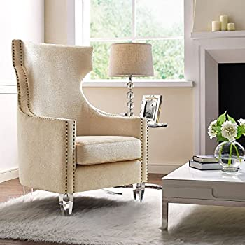 tov furniture the gramercy collection croc textured velvet upholstered living room wing chair gold