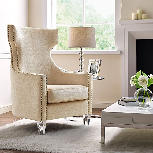 Tov Furniture Gramercy Croc Velvet Wing Chair, Gold