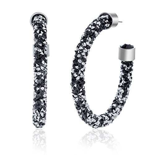 (Crystal Crush Crystal Wrapped C Hoop Earrings for Women in Rhodium Plated Brass (Black and Clear))