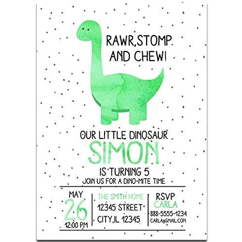 Image Unavailable Not Available For Color Green Watercolor Dinosaur Birthday Party Invitations
