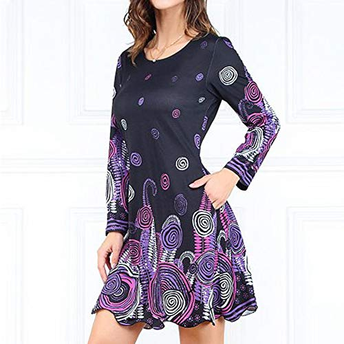 HITRAS Clearance!Womens Dress!Womens Printing Long Sleeves Purple Abstract Scallop-Hem Shift Dress