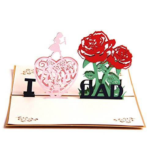 Paper Spiritz I LOVE DAD Thank You Card 3D Pop up Birthday Card from Daughter Baby to Dad Birthday Gift