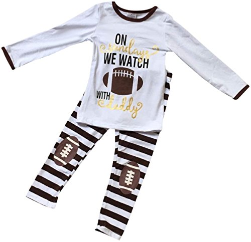 Big Girls 2 Pieces Pant Set Long Sleeve Football Top Legging Pant Clothing Set White 7 XXL (500876)