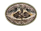 Real Rattlesnake Belt Buckle:Dueling heads in Oval (598-BB402)