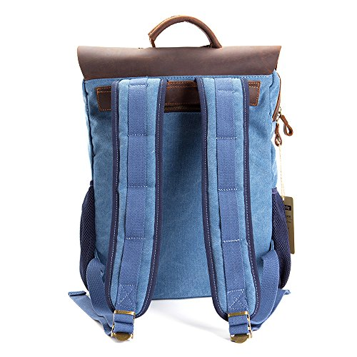 Vintage Leather Canvas Backpack - Retro Canvas School Rucksack Backpack up to 15.6 inch Laptop Bag by AUGUR (Image #2)