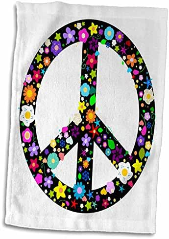 3dRose InspirationzStore Peace Signs - Floral Peace Symbol - Flowery hippy or hippie sign - flower power - colorful flowers - on white - 12x18 Hand Towel (twl_58311_1)
