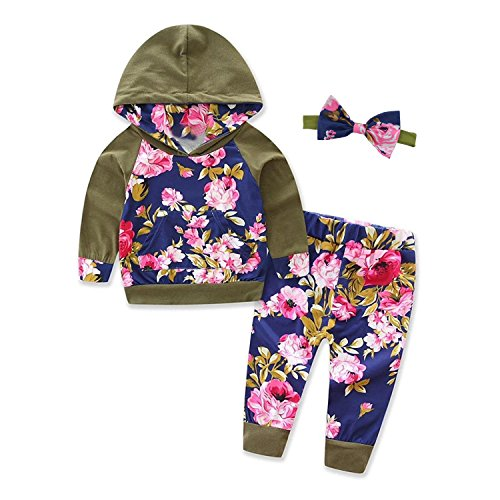 Baby Girls Floral Print Clothes Outfits Set Long Sleeve Hoodies and Print Pants with Elasticity Headband (6-12Months)