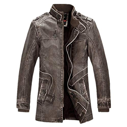 R-Eansontis Men Leather Suede Jacket Fashion Fleece Lined Motorcycle Faux Leather Coats Leather Jackets