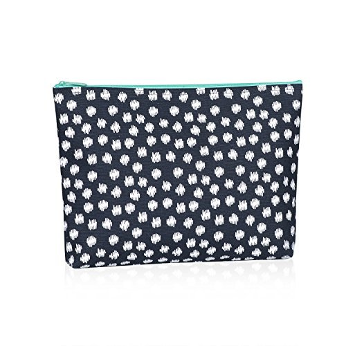 Thirty One Zipper Pouch in Navy Doodle Dot - No Monogram - 3045 (Zipper Dot)
