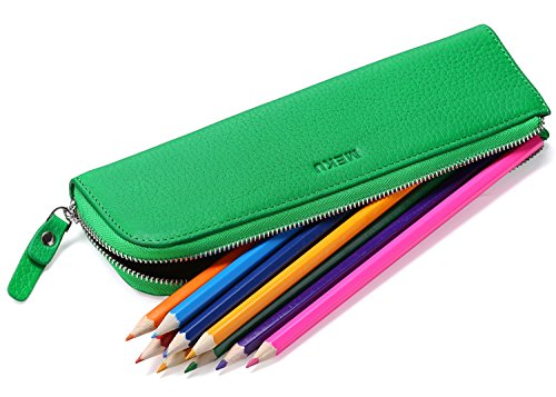 MEKU Pencil Case Genuine Leather Pen Case Stationery Bag Zipper Pouch Pencil Holder with 2 Slots Green