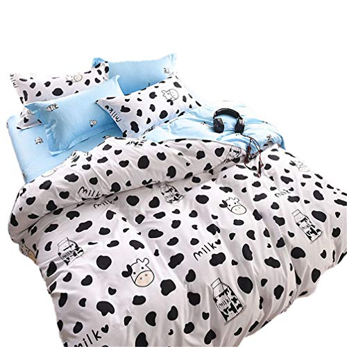 (Sookie 3Pcs Duvet Small Cow Milk Cartoon Bedding (No Comforter and Sheet Duvet Cover Set with 2 Pillow Shams - Full/Queen Size)
