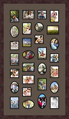 Art to Frames Double-Multimat-188-119/89-FRBW26061 Collage Frame Photo Mat Double Mat with 20-3x4 and 8-3x3 and 1-3x5 Openings and Espresso Frame