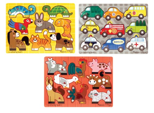 Melissa & Doug Mix 'n Match Wooden Peg Puzzles (Set of 3) - Animals and Cars - Peg Puzzle Set