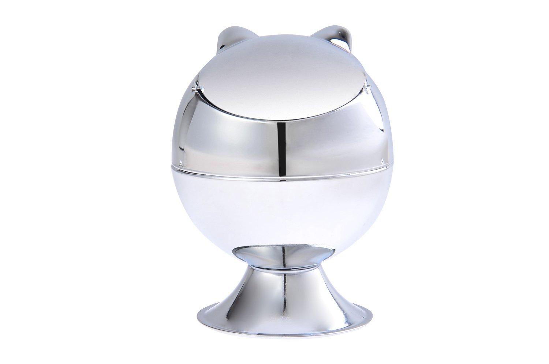 Cendrier fait en alliage de zinc, en forme de chat, métal poli, Mod. 946A (DE)