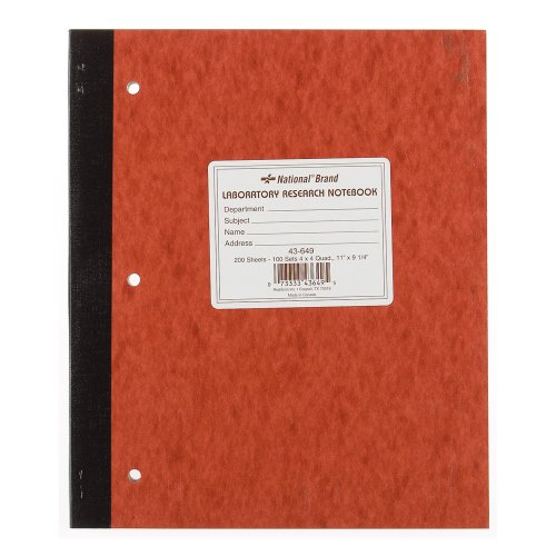 NATIONAL Laboratory Notebook, 4 X 4 Quad, Brown, Cover, 11 x 9.25', 100 Sets (43649)