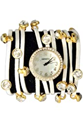Spaghetti Strand Designer Inspired Geneva Wrap Watch-White and Gold!