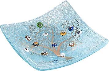 Sospiri Venezia Vaciabolsillos - Árbol de la Vida - De Cristal con murrinas de Murano y Hoja de Oro, Hecho a Mano por Artesanos venecianos, 15 x 15 cm