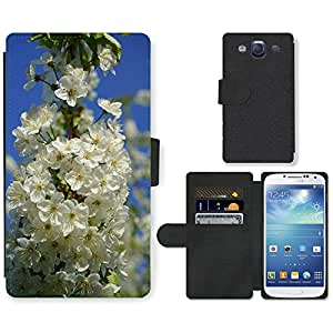 Super Stella Cell Phone Card Slot PU Leather Wallet Case // M00145958 Cherry Blossoms Flowers White Tree // Samsung Galaxy S3 S III SIII i9300