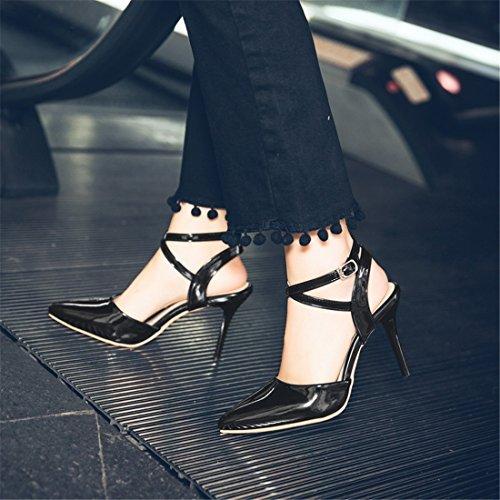 Verano Punta Black Sandalias Pulsera de Número Cruz del Zapatos para Sandalias Hebilla los de Mujer Moda Alto En con Ocupacional Tacón Sandalia Mujer Gran ggw0xaSq