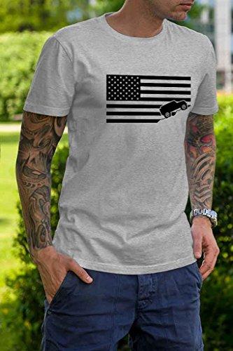 American Flag Jeep Shirt Ash Gray Made in USA offroad t-shirt (Mediu)