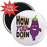 CafePress - Emoji How You Doin Eggplan - 2.25'' Magnet (100 pack)
