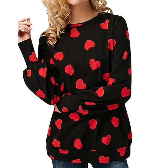 Tefamore Camisas Mujer, 2018 Blusas para Mujer Cuello Redondo Estampado Tops Camisetas Mujer