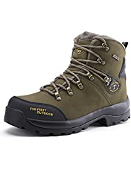 TFO Mens Climbing Shoes Leather Waterproof Mid Hiking Boots Mountaineering for Outdoor Sports
