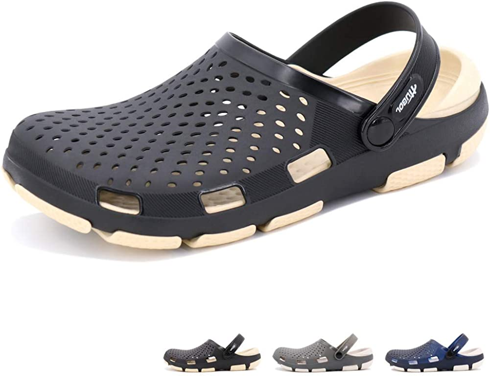 beister Mens Clogs Non Slip Water Shoes with Adjustable Strap, Lightweight Slip on Mules Garden Kitchen Outdoor Beach Yard Pool Shower Summer Sandals Slippers