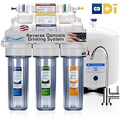 EXPRESS WATER - 50GPD 6-Stage Reverse Osmosis RO DI (De-ionization) Water Filter - MODERN FAUCET & CLEAR HOUSING- RODI5MC