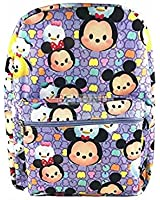 Disney Tsum Tsum School Backpack 16in All Over Print Large Book Bag Purple