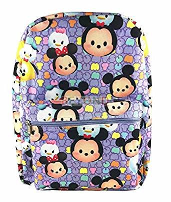 Price comparison product image Disney Tsum Tsum School Backpack 16in All Over Print Large Book Bag Purple