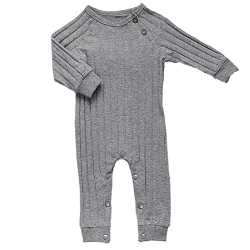 Newborn Baby Boys Girls Organic Cotton Long Sleeve Sweater Romper Sleep N Play (0-6 Months, Gray)