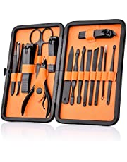 HailiCare Manicure Pedicure Set Nail Clippers - 15 in 1 Men's Stainless Steel Professional Pedicure Kit Nail Scissors Grooming Kit with Black Leather Travel Case