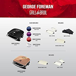 George Foreman GBR5750SBLQ Grill & Broil 7-in-1 Electric Indoor Grill, Broiler, Panini Press, and Waffle Maker, Black…