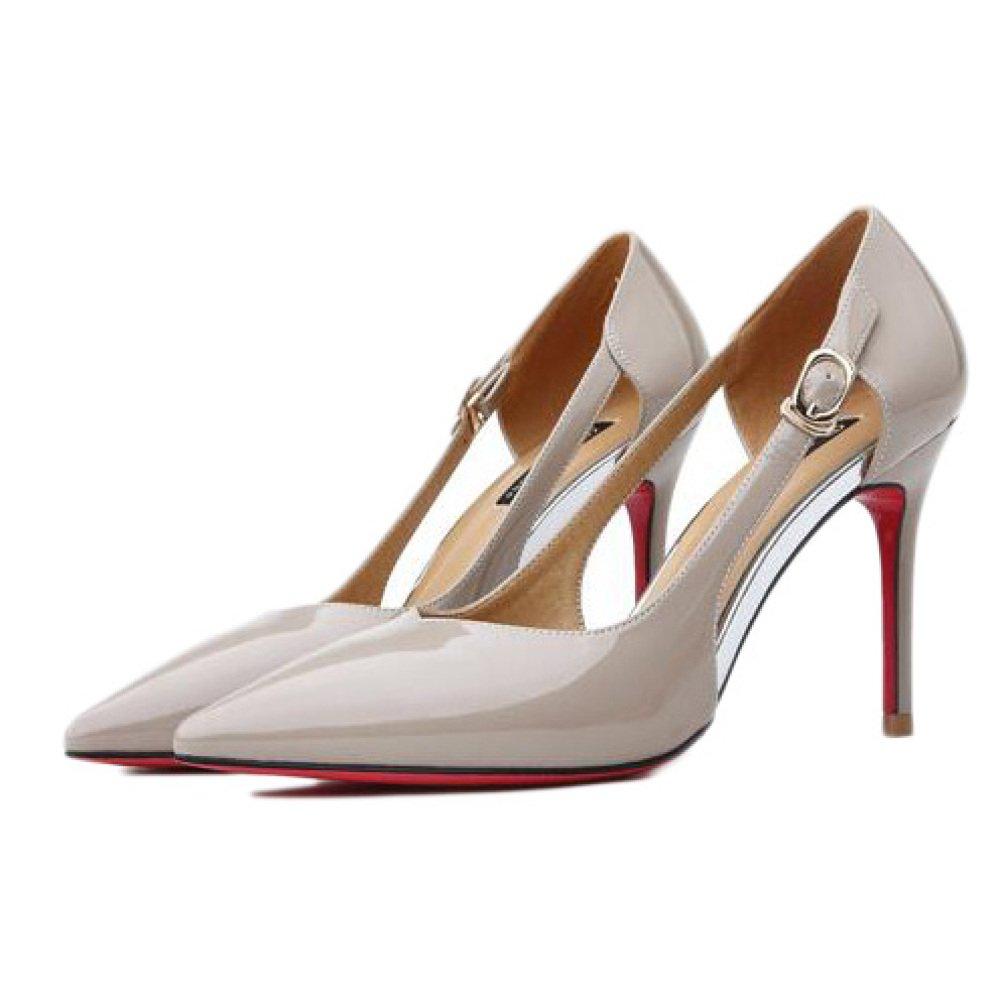 Frau Schwarz High Heels Heels Heels Mode Sexy Arbeit Court Schuhe Hochzeit Hohle Lackleder Damenschuhe Party Nachtclub,Apricot-9.1cm-EU 37 UK 4.5 da6050