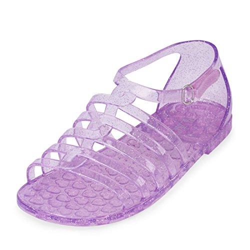 Lavender Girls Shoes - The Children's Place Girls' BG Jelly Gladiat Flat Sandal, Lavender, Youth 4 Medium US Big Kid