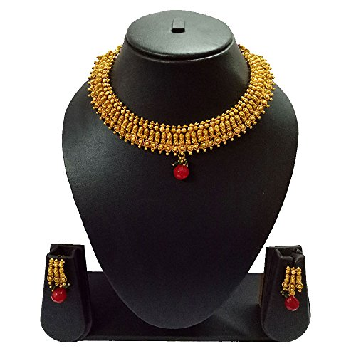 Pourni Short Necklace Set with Jhumka Earring Antique Finish Necklace Set For Women by Pourni