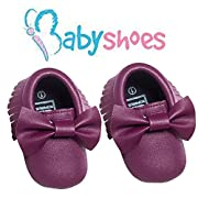 LAROK Bowknot Leather Baby Moccasins for Boy Girl Infant Toddler Pre-walker Crib Shoes,NBB02,Purple,0-3 Months