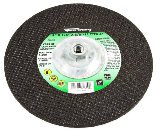 Forney Arbor - Forney 71899 Grinding Wheel with 5/8-Inch-11 Threaded Arbor, Masonry, C24R-BF, 9-Inch-by-1/4-Inch
