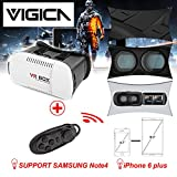 VIGICA 3D VR Glasses,VR Virtual Reality Headset Google Cardboard for 4.7-6 inch iPhone Android 3D Video Movie Game with Bluetooth VR Controller Gamepad QR Code