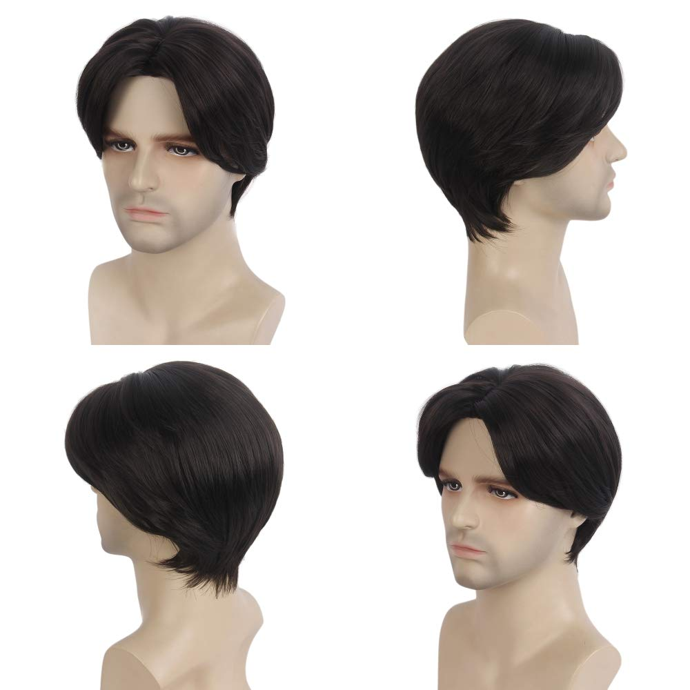 STfantasy Mens Wig Ombre Brown Short Straight Middle Part Synthetic Hair for Male Guy Everyday Daily Cosplay Party w//Cap