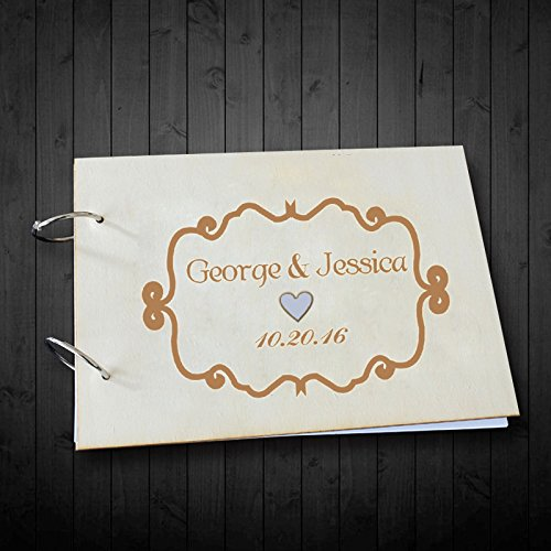 Personalized Bride and Groom Name Wedding Date with Border Wedding Guest Book Alternative Photo Book Scrapbook Albums 8 x 12 inches for Wedding Gifts Anniversary Gifts Valentiens Day Gifts