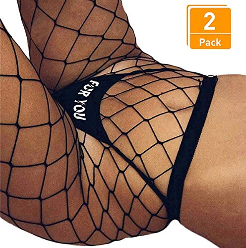 2 Pair Fishnet Stockings for Women High Waist Fish Net Tights Pantyhose DancMolly (One Size, A X-Large Hole,2 Pair)