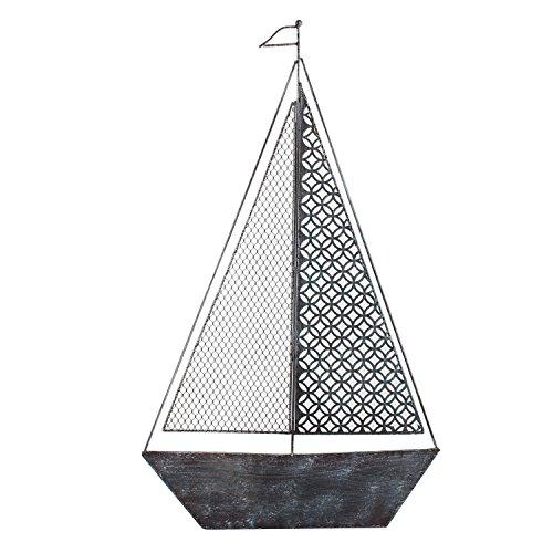 Black Sailboat (Asense Decorative Distressed Iron Wall Hanging Accents Sailboat Black & Blue)