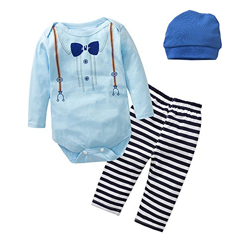 3 pcs Baby Boys Girls Pants Set, Newborn Infant Toddler Long Sleeve Printing Romper Bodysuits Striped Pants Leggings with Hats Clothes Set (90/12-18 Months)